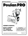 Poulan Pro PP165E30 437738 Snow Blower Owners Manual page 1