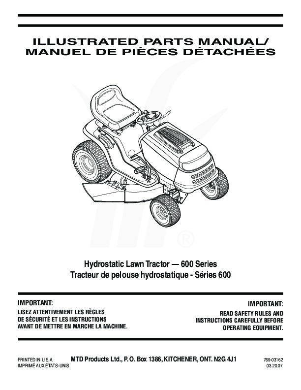 Mtd 600 Series Lawn Tractor Service Manual