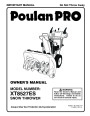 Poulan Pro XT8527ES 422071 Snow Blower Owners Manual page 1