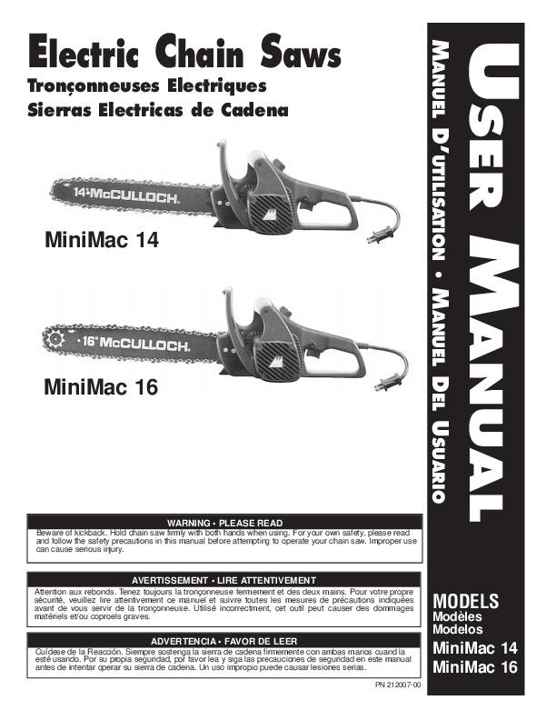 mcculloch minimac 14 16inch electric chainsaw owners manual rh lawn garden needmanual com