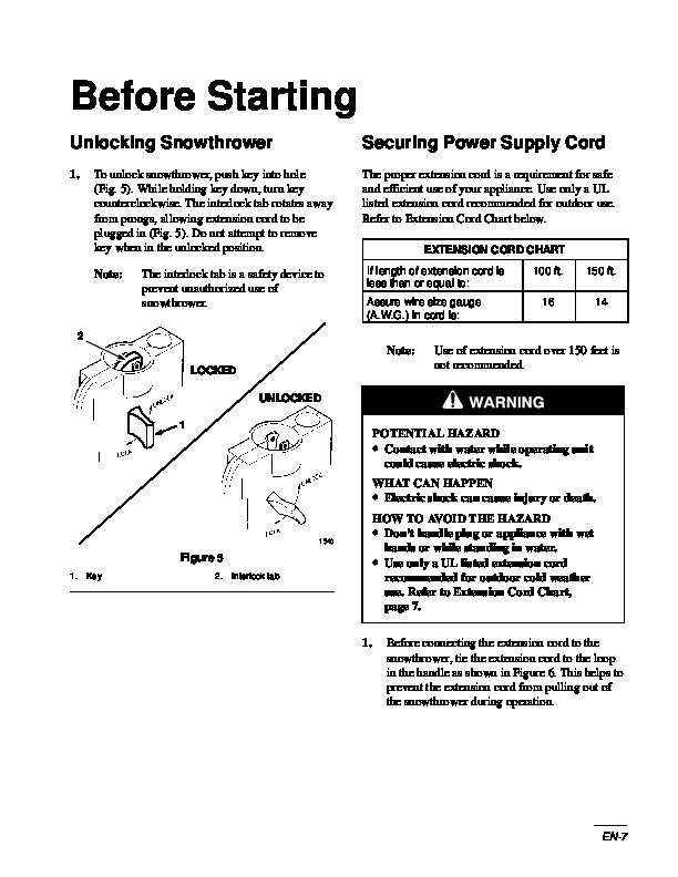 toro 1300 snow series manual