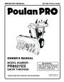 Poulan Pro PR8527ES 421469 Snow Blower Owners Manual page 1