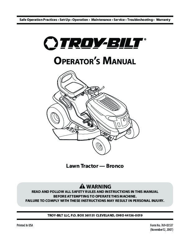 MTD Troy Bilt Bronco Garder Tractor Lawn Mower Owners Manual 1 mtd troy bilt bronco garder tractor lawn mower owners manual Bolens Lawn Tractor Wiring Diagram at sewacar.co
