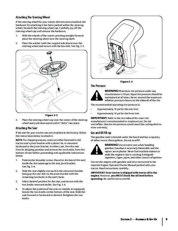 MTD Troy-Bilt Bronco Garder Tractor Lawn Mower Owners Manual