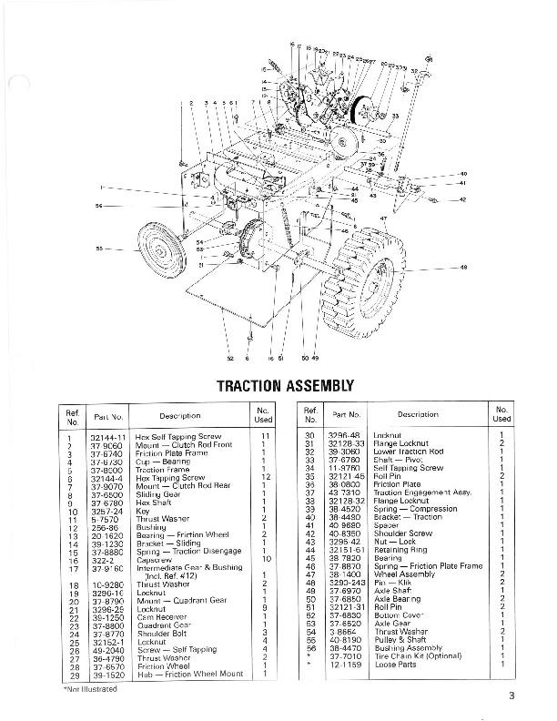 toro 38052 521 snowblower operators manual  1986