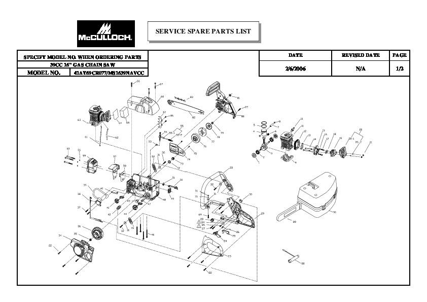 mcculloch 3200 parts diagram
