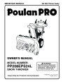 Poulan Pro PP208EPS24L 440578 Snow Blower Owners Manual page 1