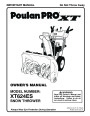 Poulan Pro XT624ES 437316 Snow Blower Owners Manual page 1