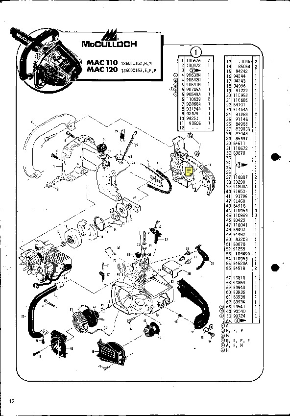 Mcculloch Mac 110 120 Chainsaw Service Parts List
