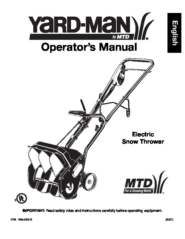 yard man 769 03412 electric snow blower owners manual by mtd rh lawn garden needmanual com yardman yard bug owners manual yardman owners manual download