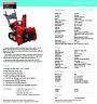 Honda HS928TC HS928TCD Snow Blower Catalog page 1