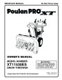 Poulan Pro XT11530ES 429884 Snow Blower Owners Manual page 1