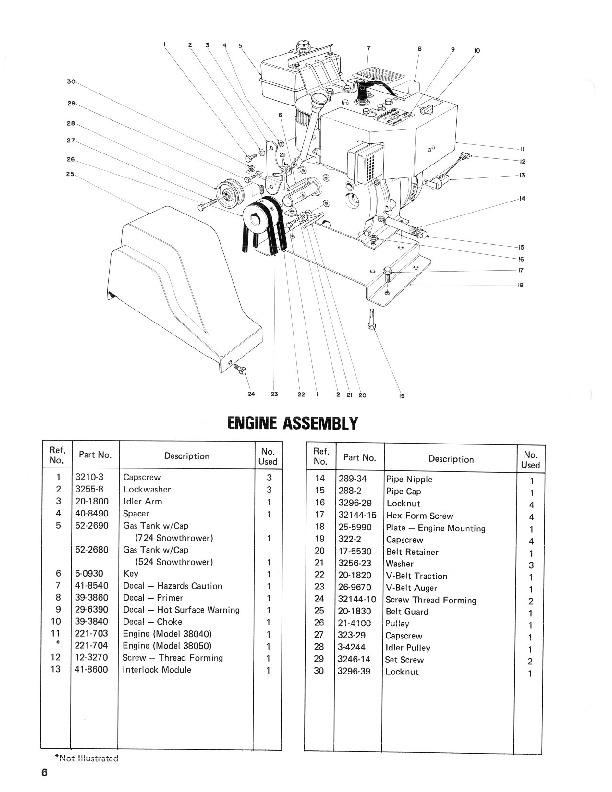toro 38040 38050 524 724 snowblower parts catalog  1985