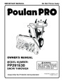 Poulan Pro PP291E30 435555 Snow Blower Owners Manual page 1