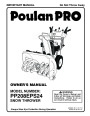 Poulan Pro PP208EPS24 435999 Snow Blower Owners Manual page 1