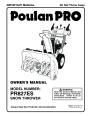 Poulan Pro PR827ES 428695 Snow Blower Owners Manual page 1