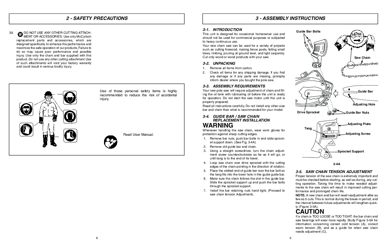 mcculloch electramac em14e chainsaw manual