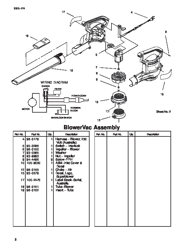 Toro 51521 Super Blower Vac Parts Catalog 2000