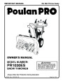 Poulan Pro PR1030ES 428556 Snow Blower Owners Manual page 1