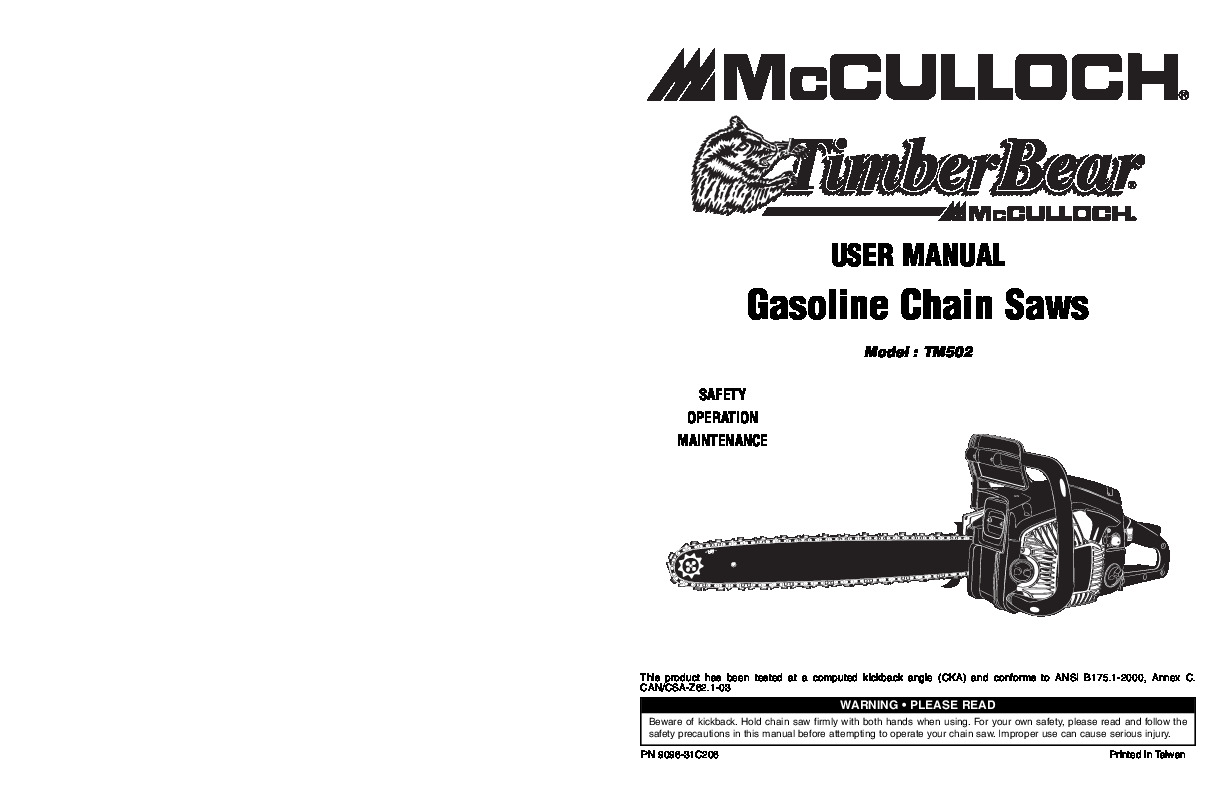 Mcculloch Chainsaw Manual Power