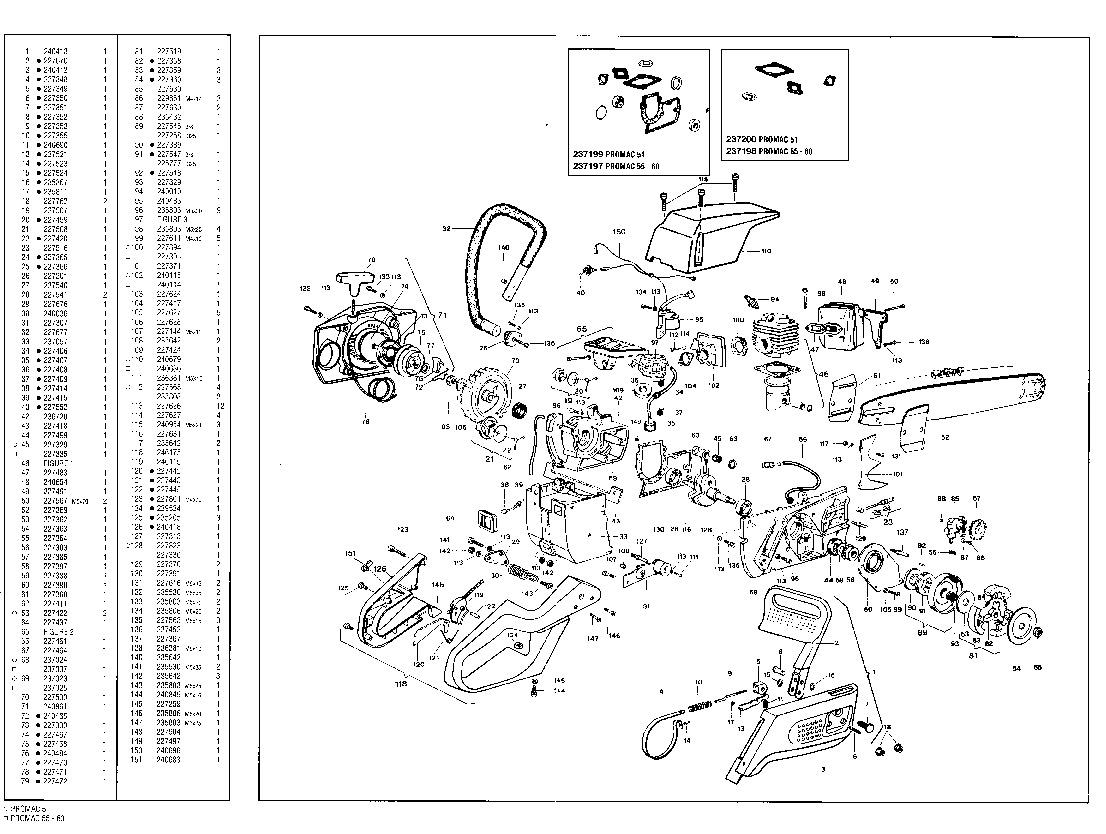 mcculloch promac 51 55 60 chainsaw service parts list
