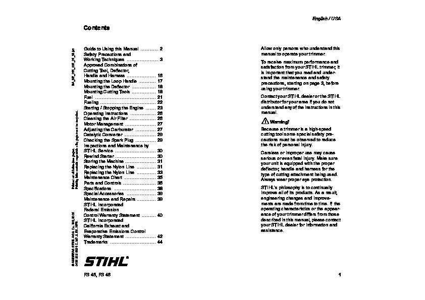 Stihl fs 45 Parts Manual