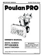 Poulan Pro PP10530ES 421064 Snow Blower Owners Manual page 1