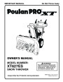 Poulan Pro XT627ES 436840 Snow Blower Owners Manual page 1