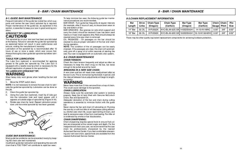 Mcculloch mcc 1435a chainsaw manual