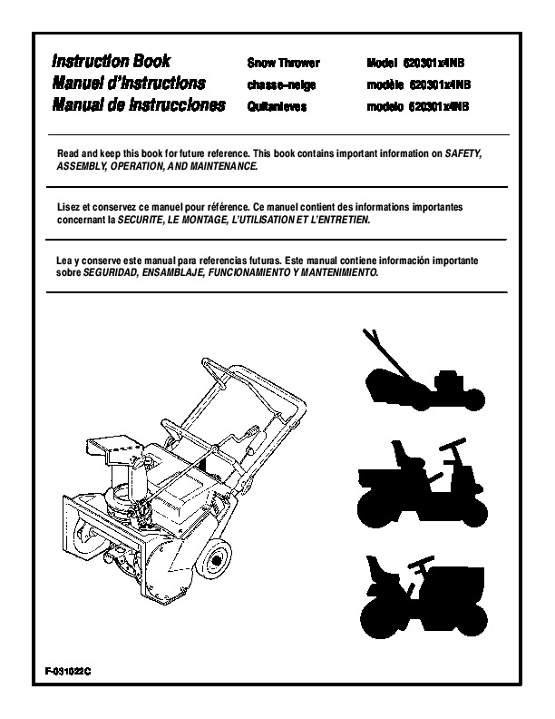 Murray Snow Thrower Parts Manual : Murray nb snow blower owners manual
