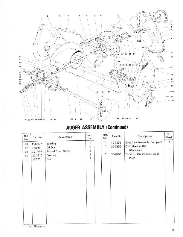 toro 38040 38050 524 724 snowblower parts catalog  1981  1984